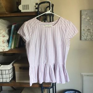 Pink Striped Peplum Shirt Abercrombie and Fitch